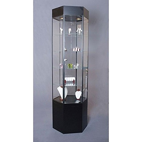 Glass Tower Jewelry Display Case Cabinets Hex Frame Assembled Showcase US Made 75''H x 20''W Black NEW by Bentley's Display