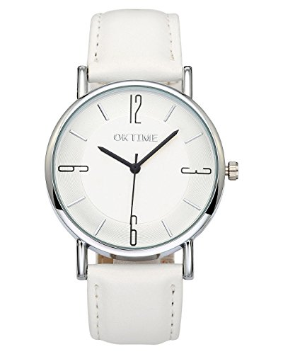 (Top Plaza Unisex Simple Casual Silver Round Case PU Leather Band Arabic Numerals Analog Quartz Watch 30M Waterproof(White Dial White Strap))
