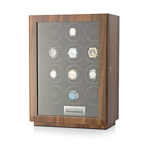 Watch Winder for 12 Automatic Watches with LCD Touchscreen Display and LED Backlight for Men's and Women's Watches