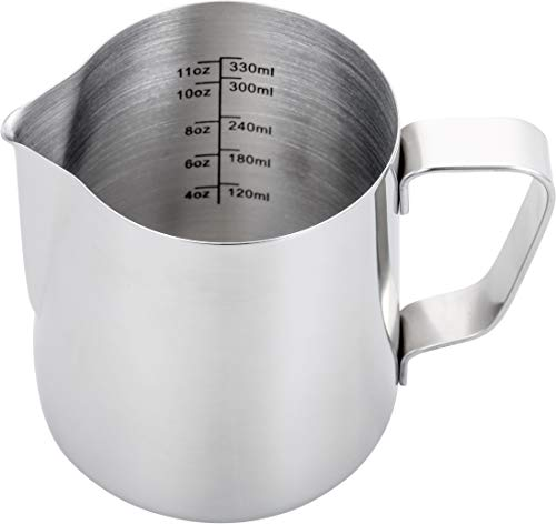 tcher 12 oz,Espresso Milk Frothing Pitcher 12 oz,Coffee Milk Frothing Cup,Coffee Steaming Pitcher 12 oz/350 ml ()