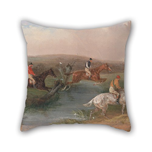 Slimmingpiggy Oil Painting William J. Shayer - Steeplechasing- The Hurdle Pillowcase 16 X 16 Inches / 40 By 40 Cm Best Choice For Wife,bedroom,adults,chair,valentine,teens Boys With Twice Sides