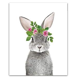 Woodland Baby Animals Floral Crown Nursery Decor Art – Set of 4 (Unframed) Wall Prints (8×10) (Option 1)