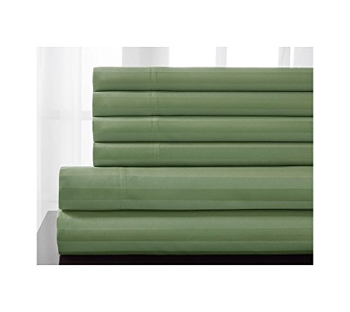 Elite Home Products, Inc. Elite Home Products 600 Thread Count Delray Cotton Rich Stripe Bonus Sheet Set Green 6 Piece Full ()