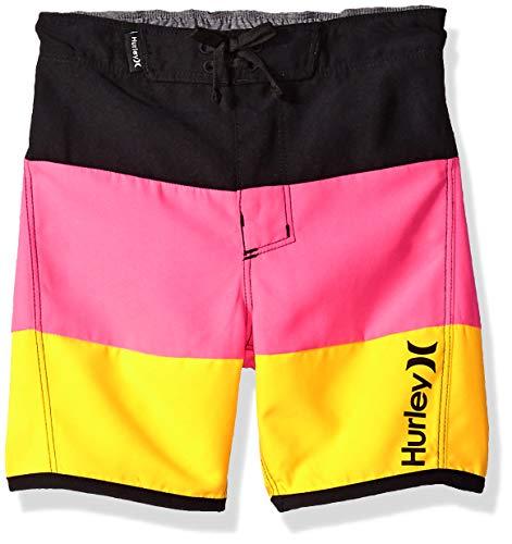 Hurley Toddler Boys' Board Shorts, Black/Pink/Orange, ()