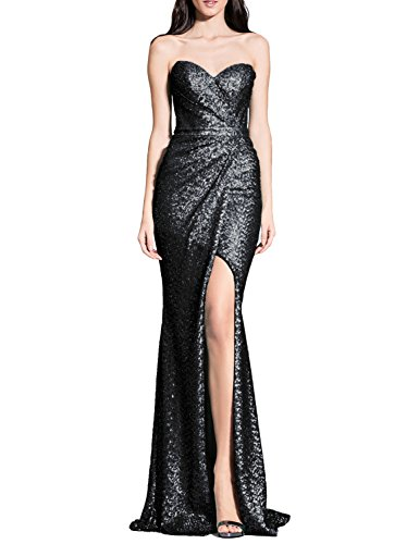 YSMei Women's Strapless Sequined Prom Dress Split Long Evening Wedding Party Formal Gown Black 12