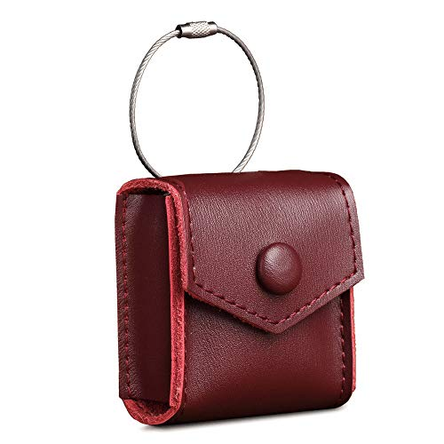 AirPods Case, Premium Leather Portable Protective Cover Carrying Case, with Holding Strap for AirPods Charging Case (Red Wine)