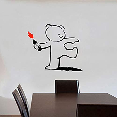 (Cute Throwing Bottle Fire Teddy Bear Vinyl Wall Sticker Decal Mural Wallpaper Kids Room Bedroom Art Decor Wall Sticker 45Cmx55Cm Vinyl Wall Sticker Living Room Bedroom)