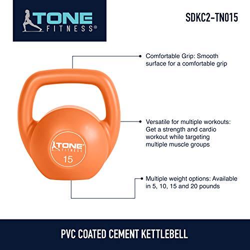 Tone Fitness Vinyl Kettlebell, 15-Pound, Orange by Tone Fitness (Image #5)