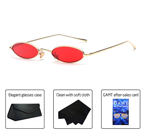 Vintage Retro Glass - Gamt Vintage Oval Sunglasses for Women and Men Small Metal Frame Candy Colors Red