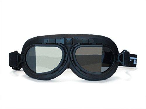 (CRG Sports Vintage Aviator Pilot Style Motorcycle Cruiser Scooter Goggle T08 T08BTB Smoke lens, black frame, black)