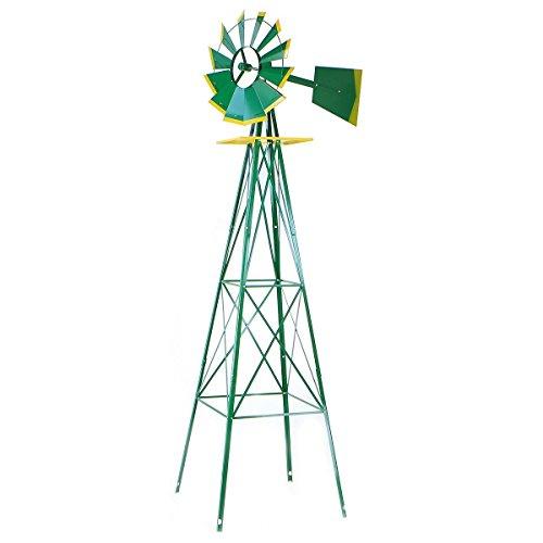 8ft Green Metal Windmill Yard Garden Wind Mill Weather Rust Resistant Hd Steel