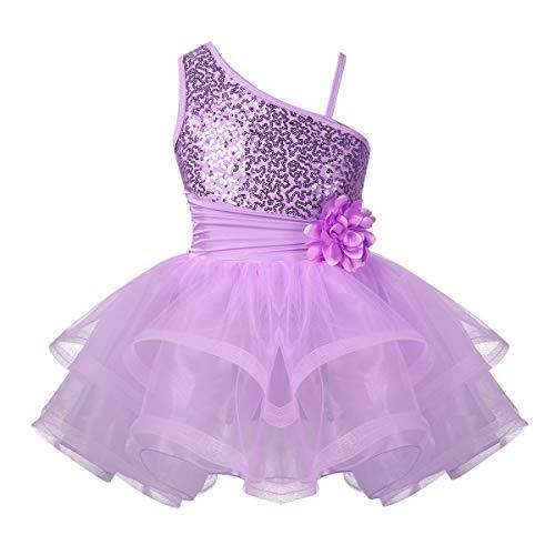 iiniim Girls Sequined Camisole Ballet Leotard Dance Tutu Dress Shiny Sparkle Fairy Party Fancy Costume One Shoulder Lavender 5-6