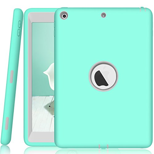 Walle Shop iPad 9.7 2017 case,Slim Heavy Duty Shockproof Armor Defender Hard PC+Silicone Hybrid High Impact Resistant Full Body Protective Cover for Apple iPad 9.7 inch 2017 (mint) (Womens 5th Black Leather)
