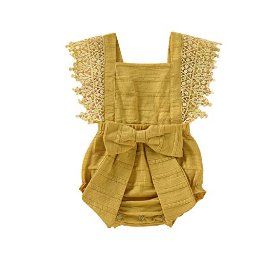 Newborn Baby Ruffle Romper Lace Sleeveless Bodysuits Bowknot Tassels Jumpsuit Sunsuits Summer Outfits (6-9 Months, Yellow lace Romper)