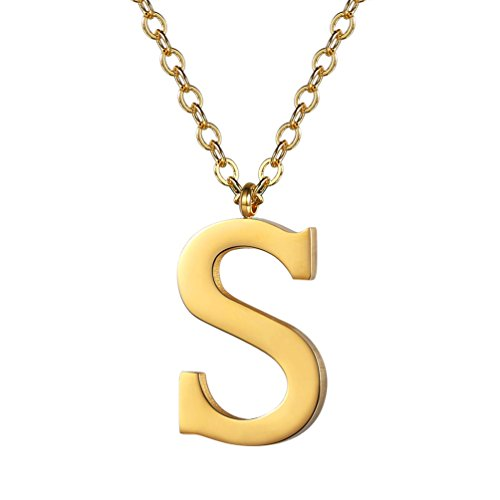 (PROSTEEL Gold Initial Letter S Necklace Alphabet Name Jewelry Boy Girl Women Personalized Friend Gift 18K Plated Minimalist Letter Pendant Men's Necklaces)