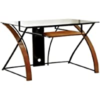 Furniture of America Restellia Contemporary Metal and Wood Computer Desk with Glass Top, Oak Finish