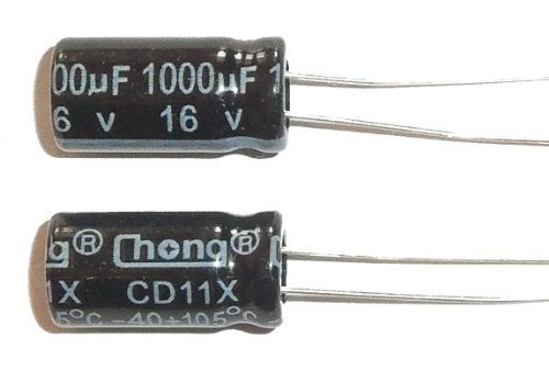 2 Radial Electrolytic Capacitor, 1000uF, 16V, 105 C (Pack of 5) (16v Electrolytic Capacitors)