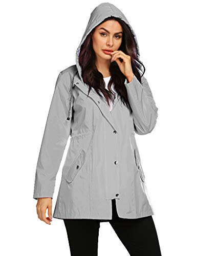Women Rain Jacket Lightweight Hooded Waterproof Active Outdoor Trench Raincoat Sun Protection Jacket Grey L