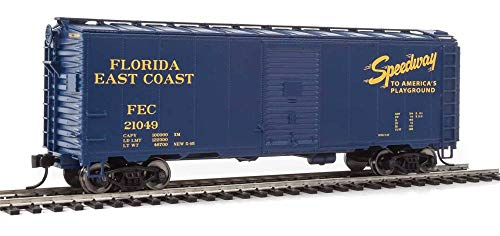 40' AAR MODIFIED 1937 BOXCAR - READY TO RUN - FLORIDA EAST COAST 21049 (BLUE, YELLOW, SPEEDWAY TO AMERICA'S PLAYGROUND)