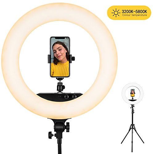 Ring Light, ESDDI 18inch 100W LED Dimmable Ring Light, Adjustable Color Temperature 3200K-5800K, Stand Phone Holder, Hot Shoe Adapter for Portrait YouTube Video, Vlog