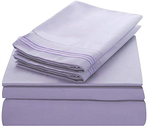 Lux Decor Collection Bed Sheet Set - Brushed Microfiber 1800 Bedding - Wrinkle, Stain and Fade Resistant - Hypoallergenic - 3 Piece (Twin, Embroidery Lavender)