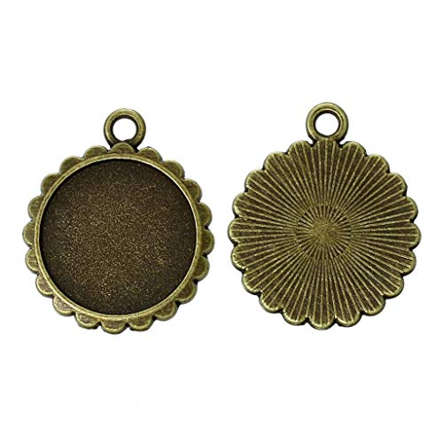 Metal Alloy Charm Pendants | Round Antique Bronze Pendants (16mm) 24mm(1