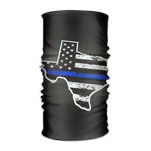 Texas Flag Map Thin Blue Line Flag Headwear Bandanas Headscarf Helmet Liner Head Wrap Scarf by WOOD-RAIN