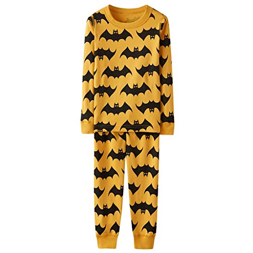 Family Matching Pajama Set 2 Pcs,Crytech Comfy Soft Halloween Bat Pattern Striped Long Sleeve Sleepshirt Top and Lounging Pant Parent Kids Child Nightgowns Pjs Sleepwear Outfit (Small, Mom)