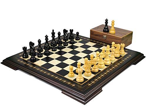 Helena Chess Set Ebonywood 23″ Weighted Ebonised Reykjavik Staunton Chess Pieces 3.75″