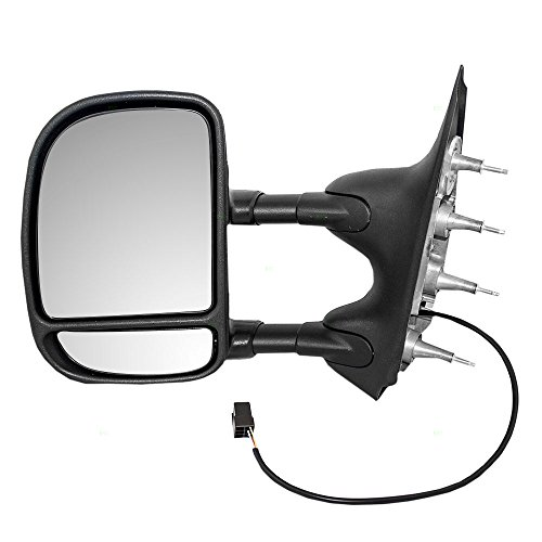 Drivers Power Tow Side Mirror Telescopic Dual Arms Double Swing Replacement for 02-08 Ford E-Series Van 7C2Z17683CA