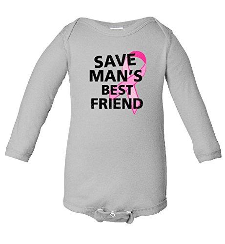 Save Man's Best Friend Breast Cancer Ribbon Infant Long Sleeve Bodysuit Heather 24 ()