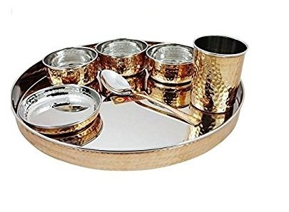 Indian Dinnerware Stainless Steel Copper Traditional Dinner Set Of Thali Plate, Bowls, Glass And Spoon, Diameter 13 Inch for Ayurvedic Health Benefits. For Home, kitchen, Restaurants.