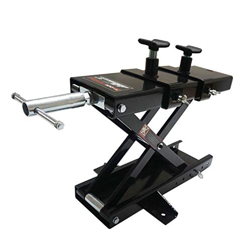 Apextreme 1100 LB Motorcycle Lift Center Scissor Lift Jack Wide Deck Hoist Stand with Saddle and Safety Pins Bikes ATVs Garage Repair Stand