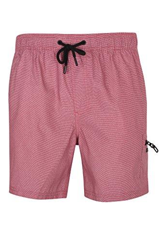 Stripe Fine Short (Dissident Mens Swim Shorts Vittorino - Claret Red/White Fine Stripe - XX Large)