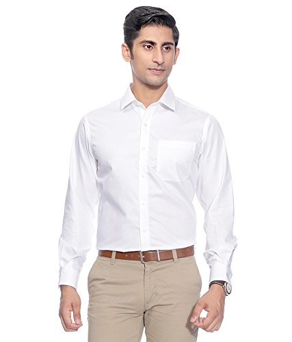 Swisscott Men's White Cotton Slim Fit Formal Shirts