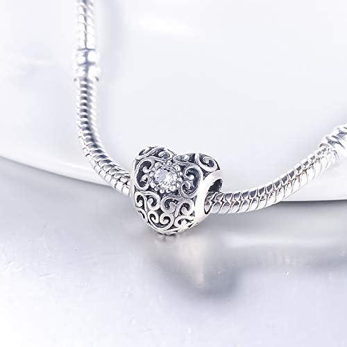 Calvas Heart Birthstone Charm Beads 925 Sterling Silver Hollow Bead Fit DIY Bracelet Women Jewelry Accessories Gifts