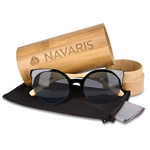 couleurs avec Lunettes différentes bois pour bambou femmes En Noir soleil UV400 bois et étui en Navaris hommes Branches en de Lunettes OUqF4AaH