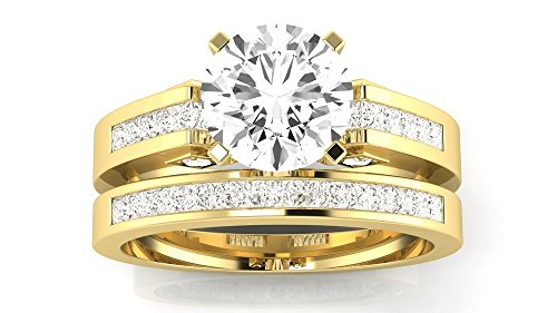 2.7 Cttw 14K Yellow Gold Round Cut Channel Set Princess Cut Bridal Set Diamond Engagement Ring Wedding Band with a 2 Carat I-J Color I2 Clarity - Princess Diamond 2 Ct Ring Cut