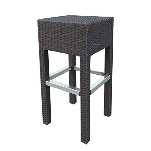 Abba Patio Outdoor Wicker Barstool Patio Furniture Bar Stool, 14.2''L x 14.2''W x 30.3''H, Brown (Stools Wicker Style Bar)