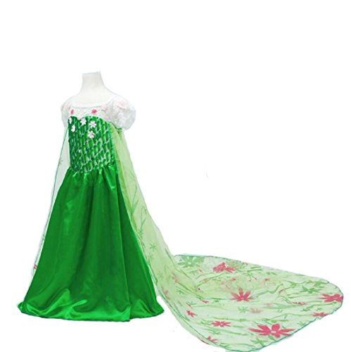 Nethaniah Girls Flower Princess Long Cape Party Cosplay Costume Dress Holiday Halloween Xmas (Flower Girl Dresses Costumes)