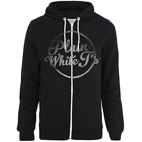 Plain White Ts Men's Logo Zippered Hooded Sweatshirt X-Small Black