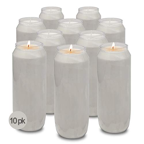 """9 Day White Prayer Candles, 10 Pack - 7"""" Tall Pillar Candles for Religious, Memorial, Party Decor, Vigil and Emergency Use - Vegetable Oil Wax in Plastic Jar Container - by Hyoola"""