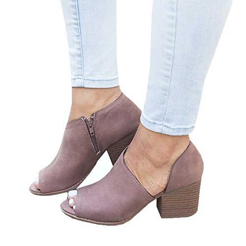 Maybest Women Slip On Fashion Faux Suede Side Cuts Peep Toe Chunky Block Low Heel Ankle Booties Purple 7 B (M) (Purple Suede Booties)