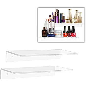 12 inch clear acrylic floating shelf wall mounted display organizer set of 2