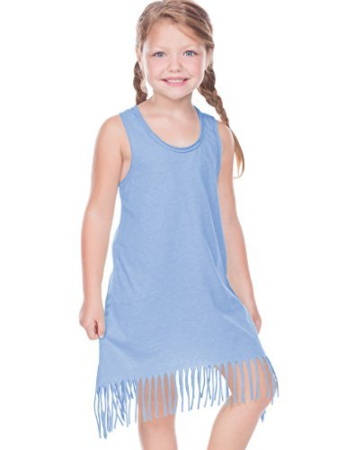 Kavio Girls 3-6X Sheer Jersey Raw Edge Fringe Asymmetrical Tank Dress, Azure, 4 by Kavio