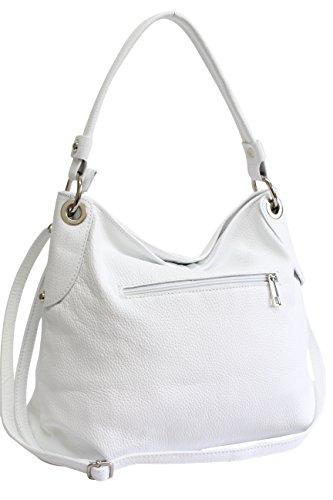 cuir tout à AMBRA véritable Sac sac à Sac Weiß à bandoulière main bandoulière femme fourre Moda GL012 sac wFBpqO6