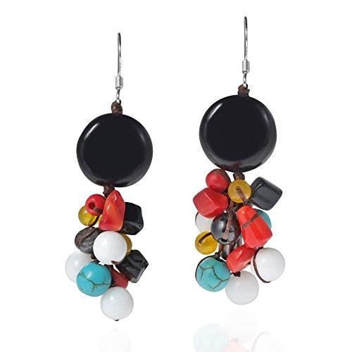 Cute Multicolor Stone Black Cluster .925 Sterling Silver Dangle Earrings