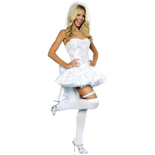 Roma Costume 4 Piece Fantasy Bride Costume, White, Medium -