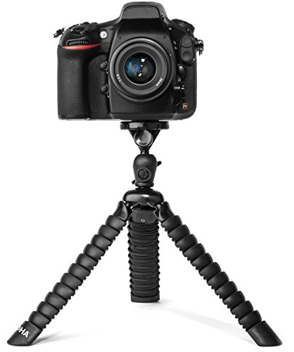 LOHA Flexible Camera Tripod for DSLR, Mirrorless and SLR Cameras - Ball Head Bundle, Bendable Leg Support