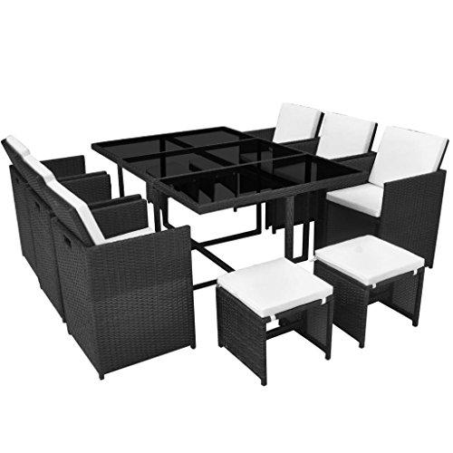 g Set 27 Piece Poly Rattan Wicker Black Garden Table Chair ()